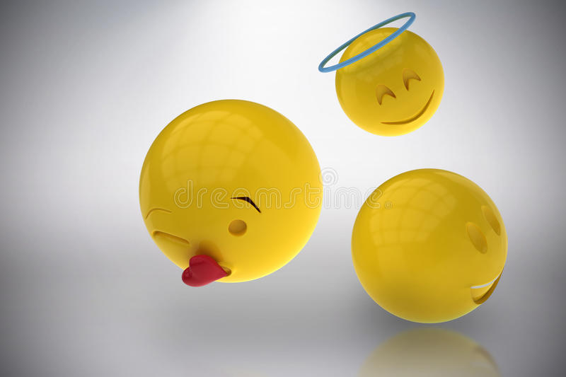 Composite image of three dimensional image of different smileys reactions 3d. Three dimensional image of different smileys reactions against grey background 3d royalty free illustration