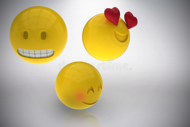 Composite image of three dimensional image of emoticons reactions 3d. Three dimensional image of emoticons reactions against grey background 3d stock illustration