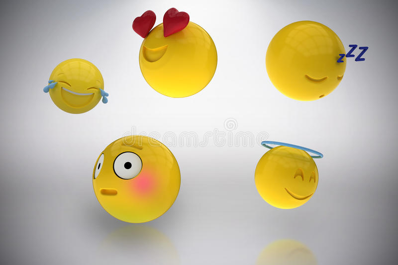 Composite image of three dimensional image of miscellaneous emoticons reactions 3d. Three dimensional image of miscellaneous emoticons reactions against grey royalty free illustration