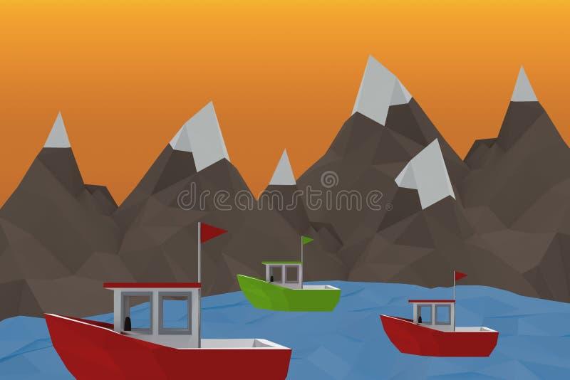 Composite image of three dimensional image of red boat. Three dimensional image of red boat against orange sky royalty free illustration