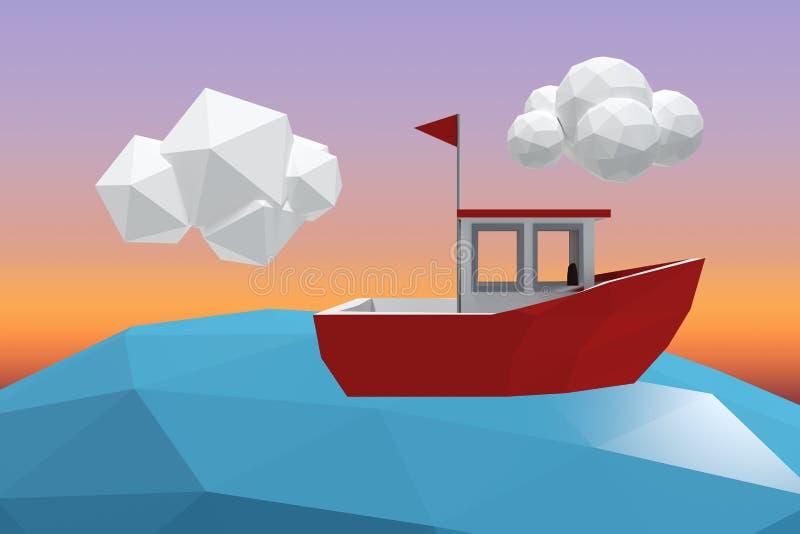 Composite image of three dimensional image of red boat. Three dimensional image of red boat against sunrise sky stock illustration