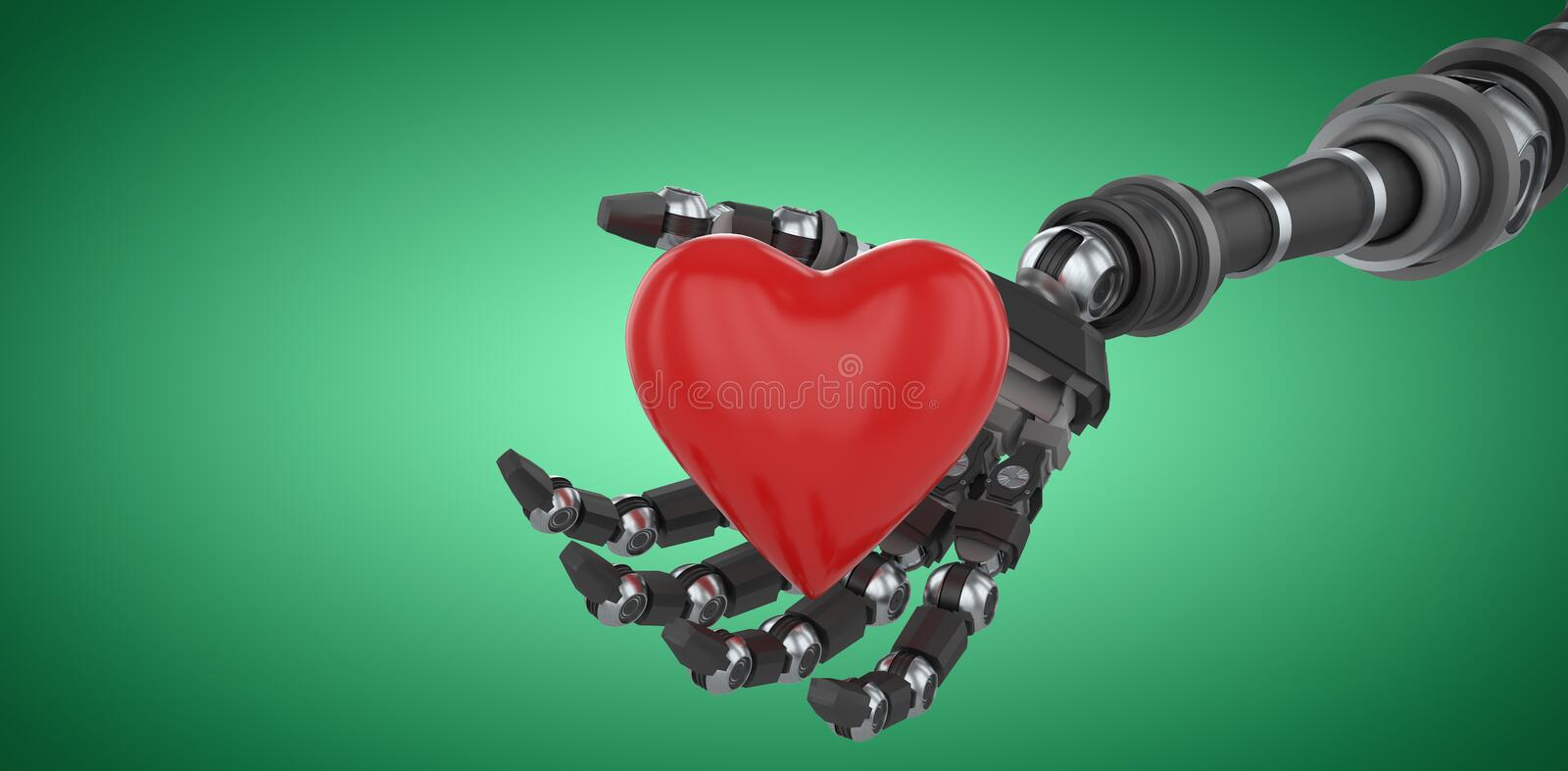 Composite image of three dimensional image of robot hand holding red heard shape 3d. Three dimensional image of robot hand holding red heard shape against green stock illustration