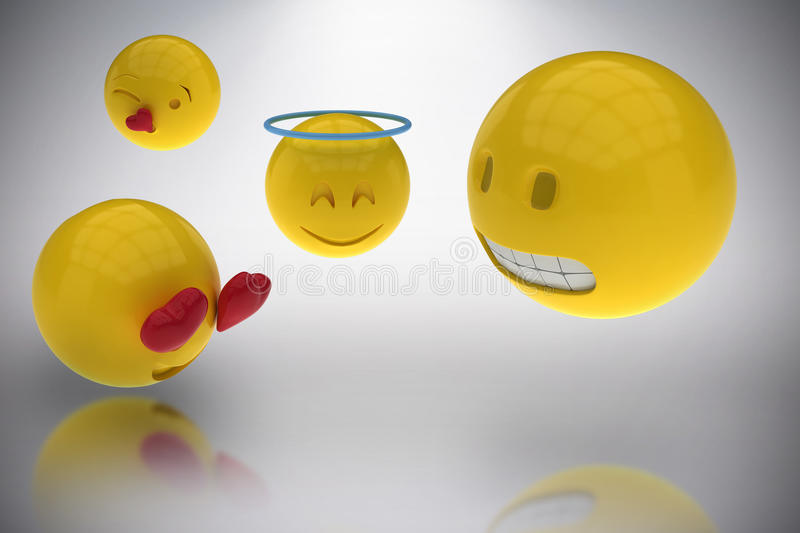Composite image of three dimensional image of smileys faces reactions 3d. Three dimensional image of smileys faces reactions against grey background 3d vector illustration