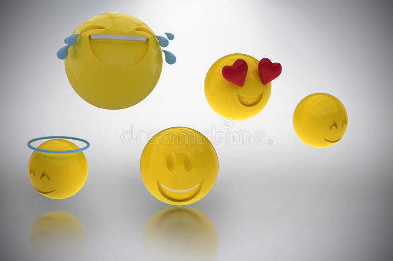 Composite image of three dimensional image of smiling emoticons 3d. Three dimensional image of smiling emoticons against grey background 3d royalty free illustration