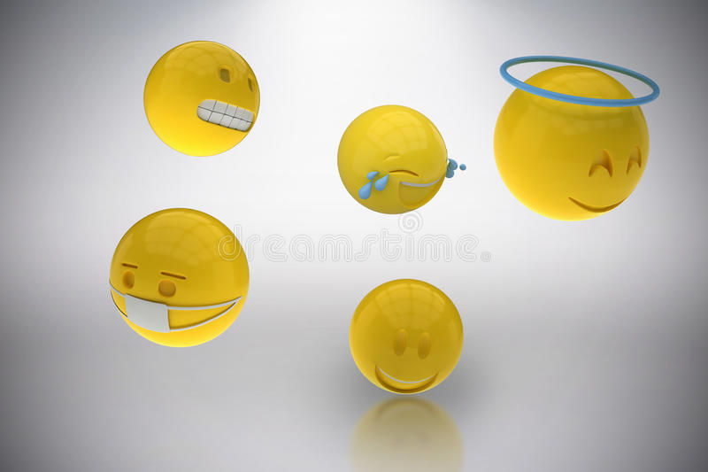 Composite image of three dimensional image of various smileys 3d. Three dimensional image of various smileys against grey background 3d royalty free illustration