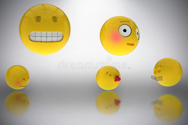 Composite image of three dimensional image of various smileys faces reactions 3d. Three dimensional image of various smileys faces reactions against grey royalty free illustration