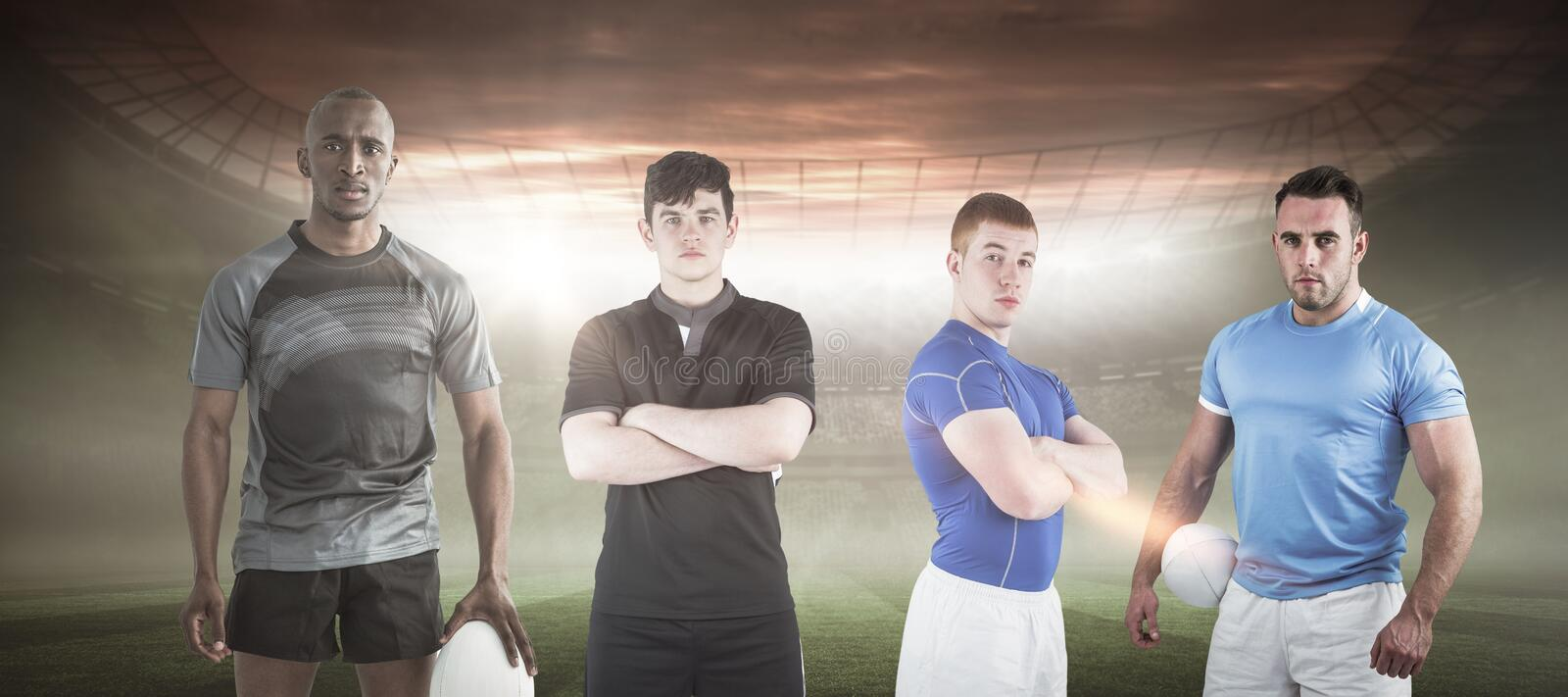 Composite image of tough rugby players 3D royalty free stock photos