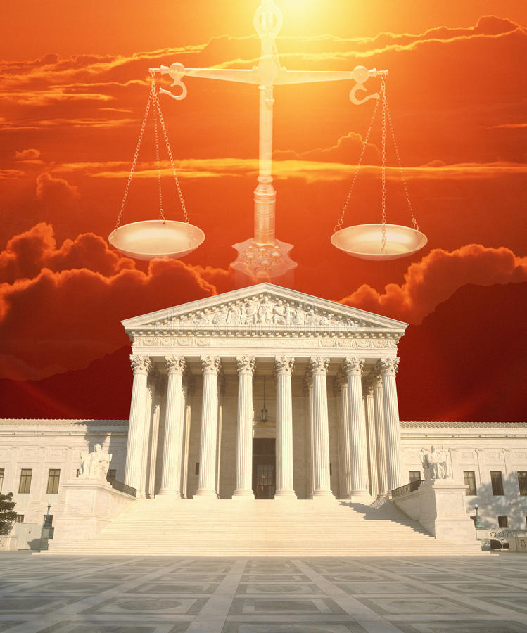 Composite image of the U.S. Supreme Court, Scales of Justice and red sky stock photos
