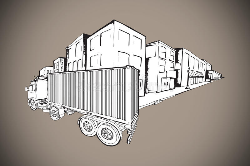 Composite image of urban street with lorry doodle royalty free illustration