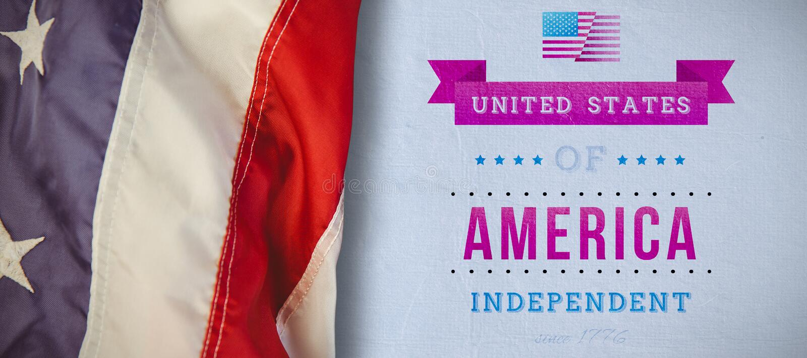 Composite image of us flag. US flag against independence day graphic royalty free stock images