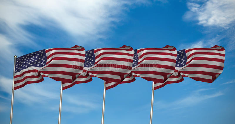 Composite image of us flag. US flag against view of a blue sky stock images