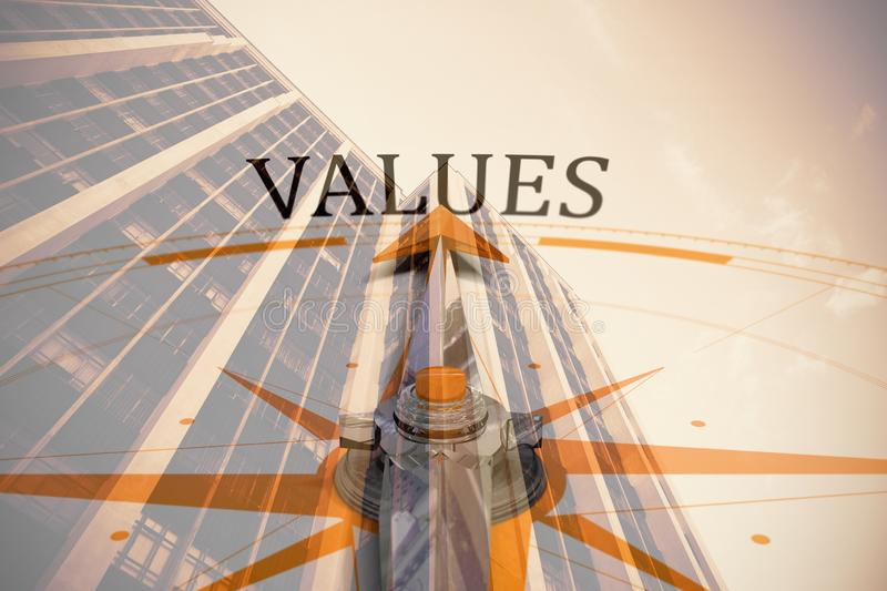 Composite image of values against compass. Values against compass against low angle view of office building against blue sky royalty free illustration