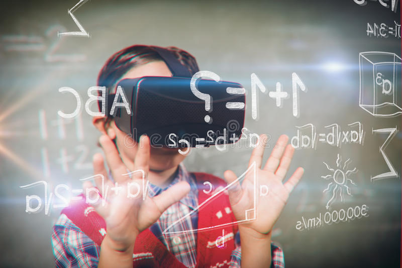 Composite image of various graphs and connectivity points. Various graphs and connectivity points against boy using a virtual reality device royalty free illustration
