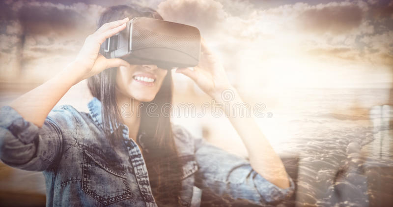 Composite image of view of beautiful sea stock photography