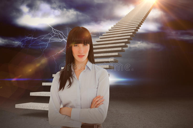 Composite image of woman in her office with her arms crossed 3d. Woman in her office with her arms crossed against thunderstrom over landscape 3d stock images