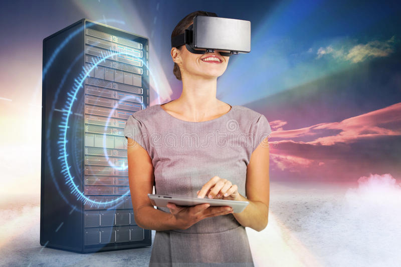 Composite image of woman holding digital tablet and using virtual reality headset 3d. Woman holding digital tablet and using virtual reality headset against red royalty free stock photography