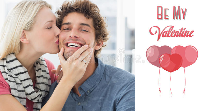 Composite image of woman kissing man on his cheek. Woman kissing men on his cheek against cute valentines message royalty free illustration