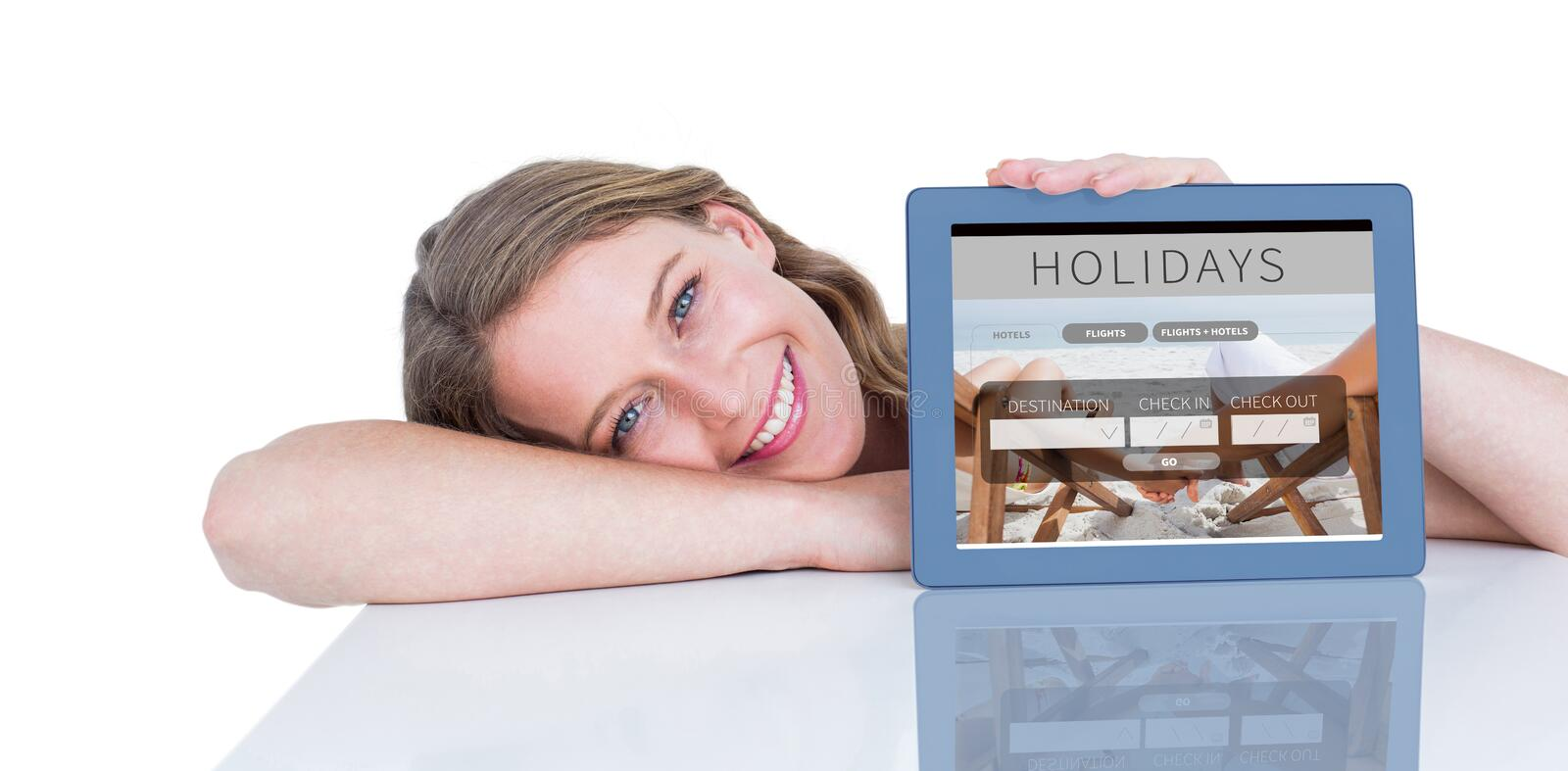 Composite image of woman showing tablet pc. Woman showing tablet pc against holidays booking app vector illustration