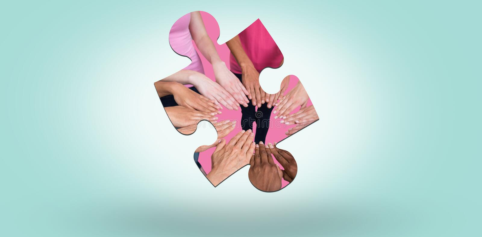 Composite image of women in pink outfits joining in a circle for breast cancer awareness. Women in pink outfits joining in a circle for breast cancer awareness stock illustration