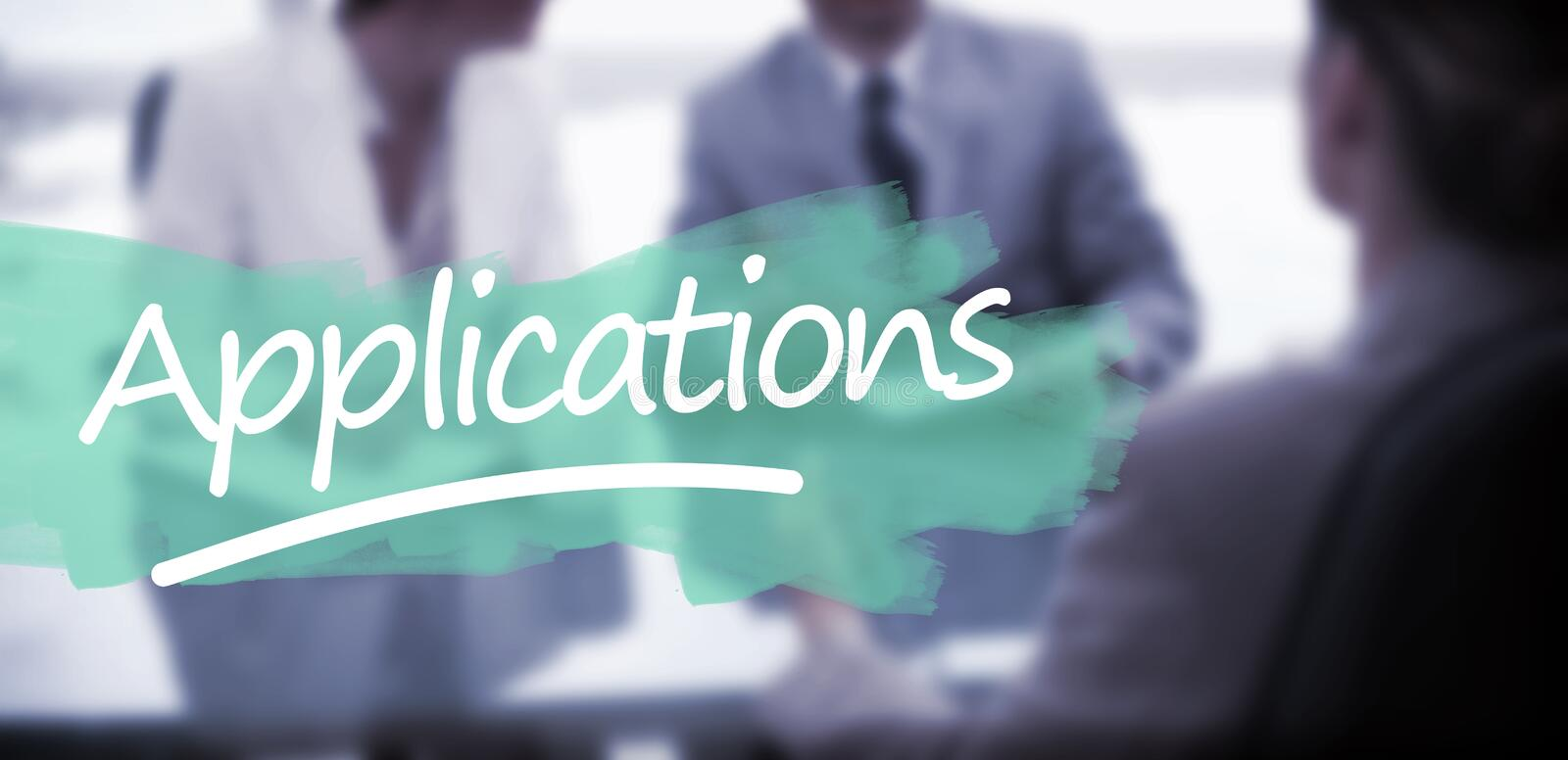 Composite image of word applications underlined. Word applications underlined against business partners talking with lawyer stock photo