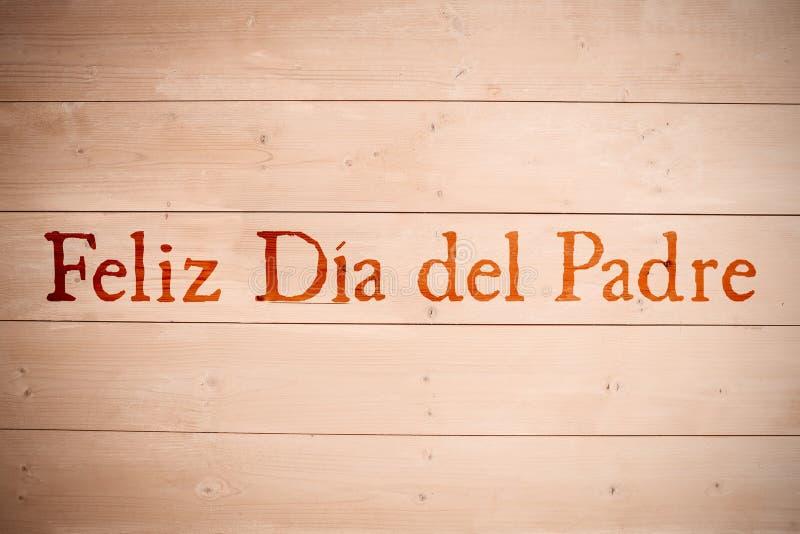 Composite image of word feliz dia del padre. Word Feliz dia del padre against wooden planks stock photography
