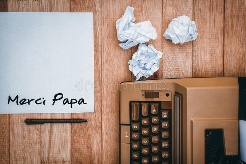 Composite image of word merci papa royalty free stock photography