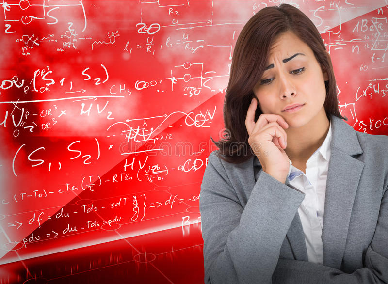 Composite image of worried businesswoman stock images