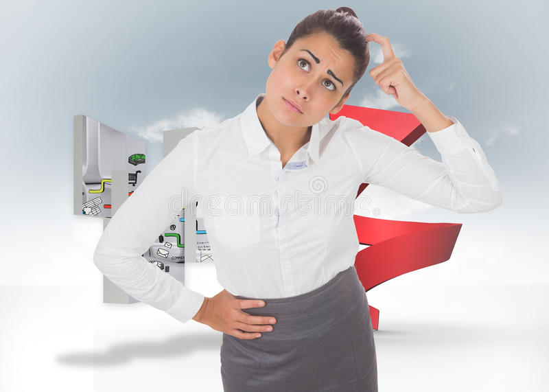 Composite image of worried businesswoman. Worried businesswoman against red spiral arrow in the sky stock photography