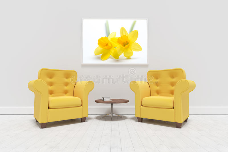 Composite image of yellow armchairs against blank picture frame stock illustration