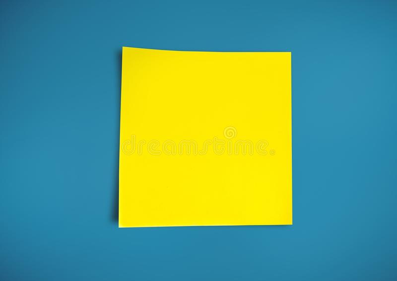 Composite image of yellow Sticky Note against blue background. Digital composite of yellow Sticky Note against blue background stock illustration