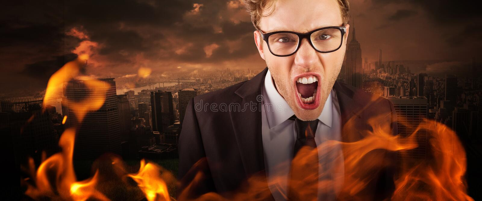 Composite image of young angry businessman shouting at camera. Young angry businessman shouting at camera against stormy sky over city stock photo