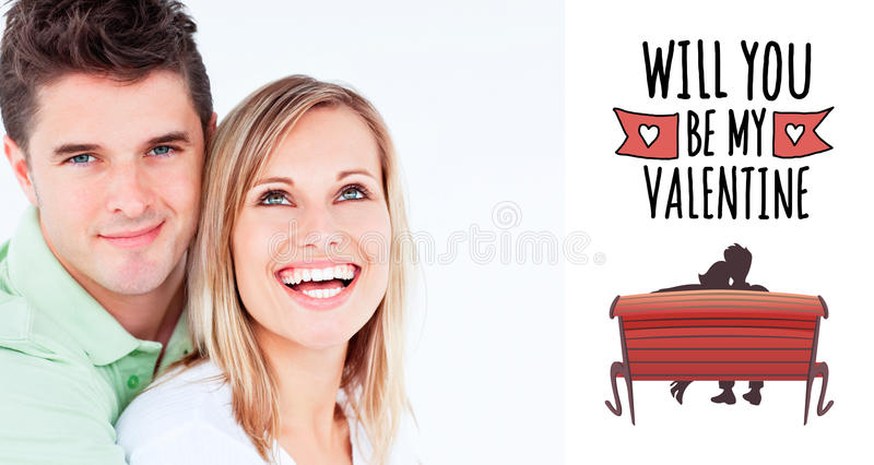 Composite image of young beautiful couple man looking at the camera. Young beautiful couple men looking at the camera against cute valentines message vector illustration