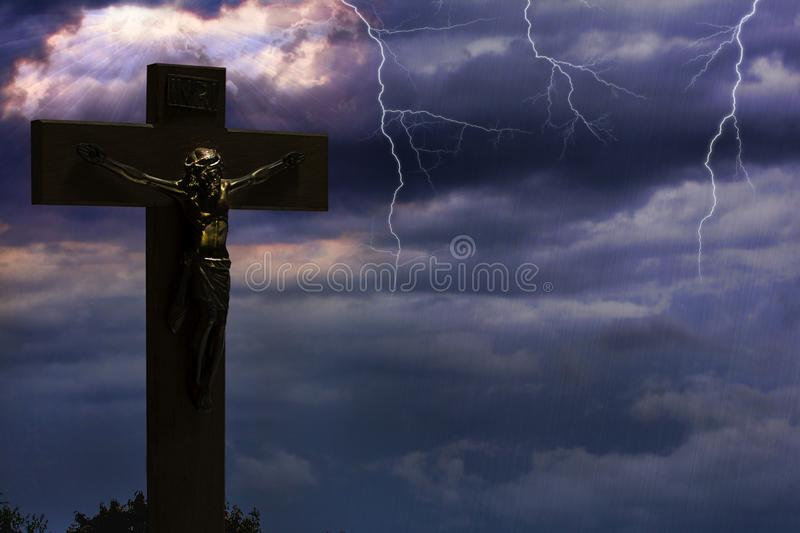 Jesus Dying On Cross And Ascending In To Heaven. A composite of Jesus on the cross with dark clouds and storm as he died, then ascending in to Heaven with sky vector illustration