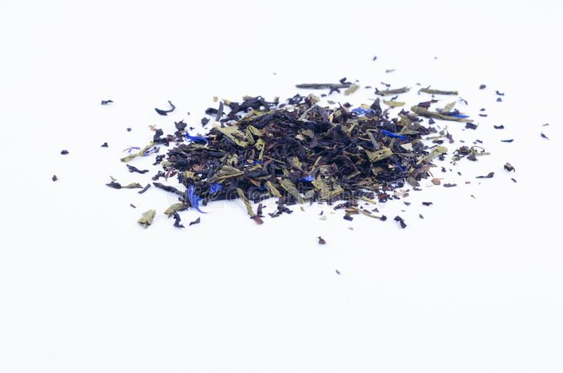 Composite Tea Brewing with Blue Flowers.  stock photos
