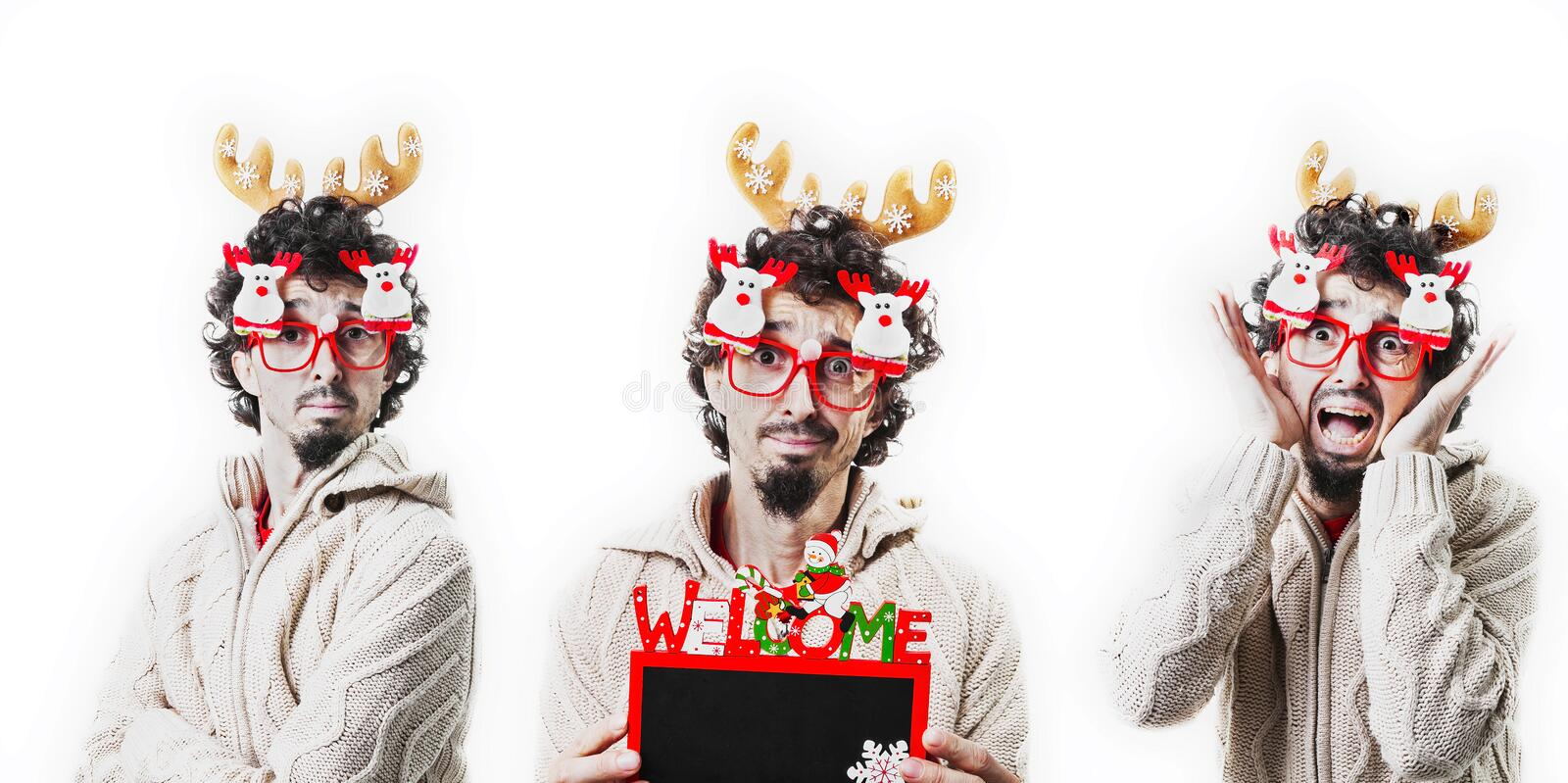 Composite of three man dress up with christmas costume royalty free stock photo