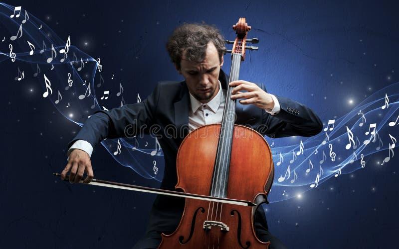 Compositeur seul jouant sur le violoncelle illustration libre de droits