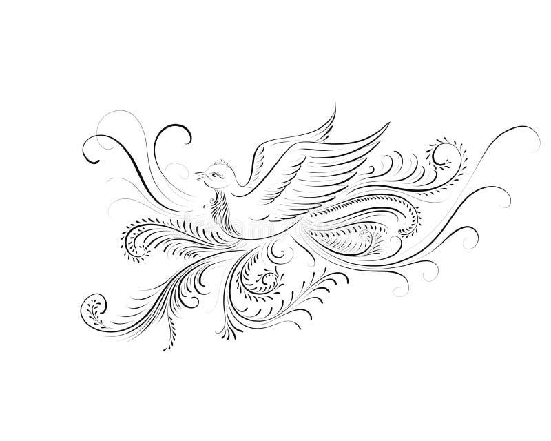 Compositing épanoui calligraphique d'un petit oiseau illustration stock