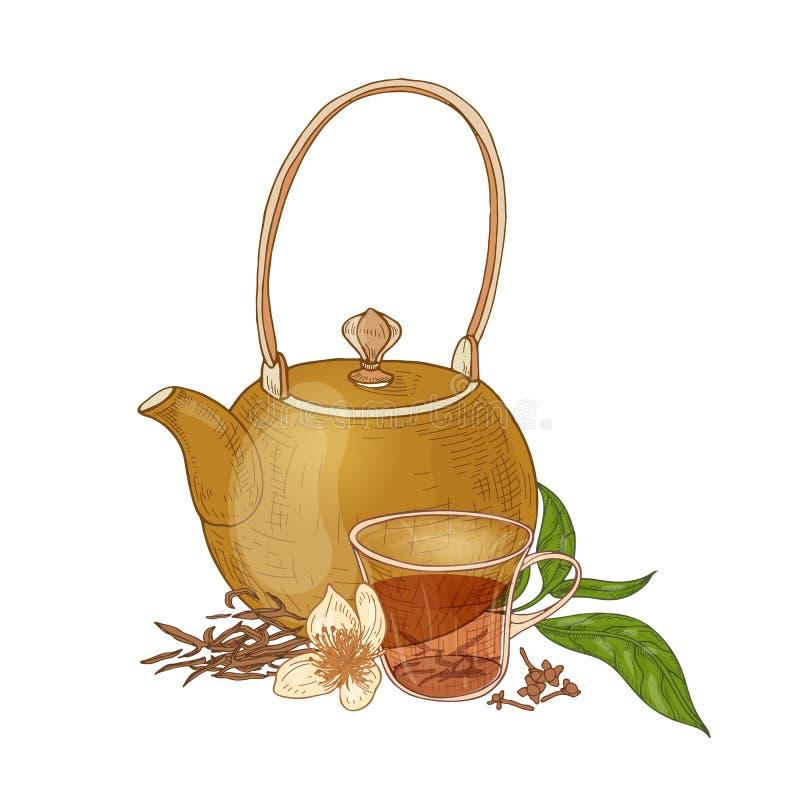 Composition élégante avec la théière, la tasse de thé noir, les clous de girofle et les fleurs et les feuilles de vanille d'isole illustration libre de droits