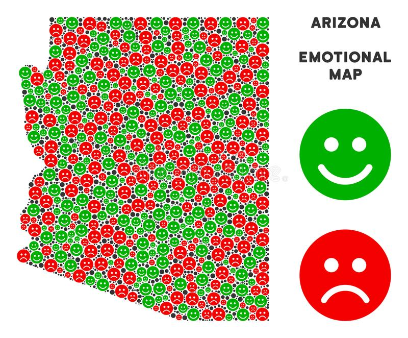 Composition émotive de carte d'état de l'Arizona de vecteur des smiley illustration stock