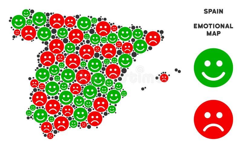 Composition émotive de carte de l'Espagne de vecteur d'Emojis illustration de vecteur
