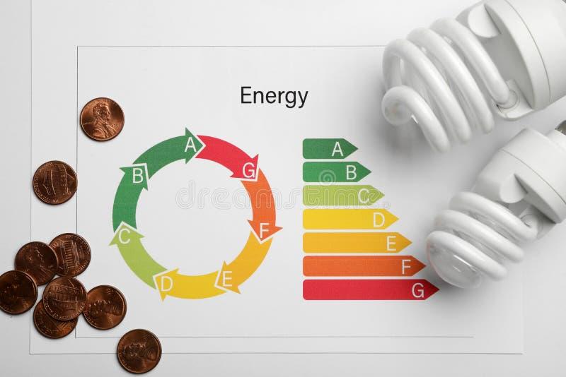 Composition étendue plate avec le diagramme d'estimation de rendement énergétique, les pièces de monnaie et les ampoules sur le b photo stock
