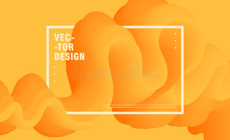 Composition abstraite avec coloré, jaune, forme de vague, 3d, forme liquide illustration stock