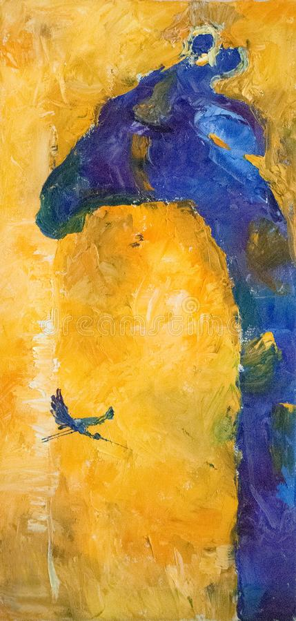 Composition abstraite en peinture à l'huile d'aspiration de main, fond Concept d'art illustration stock