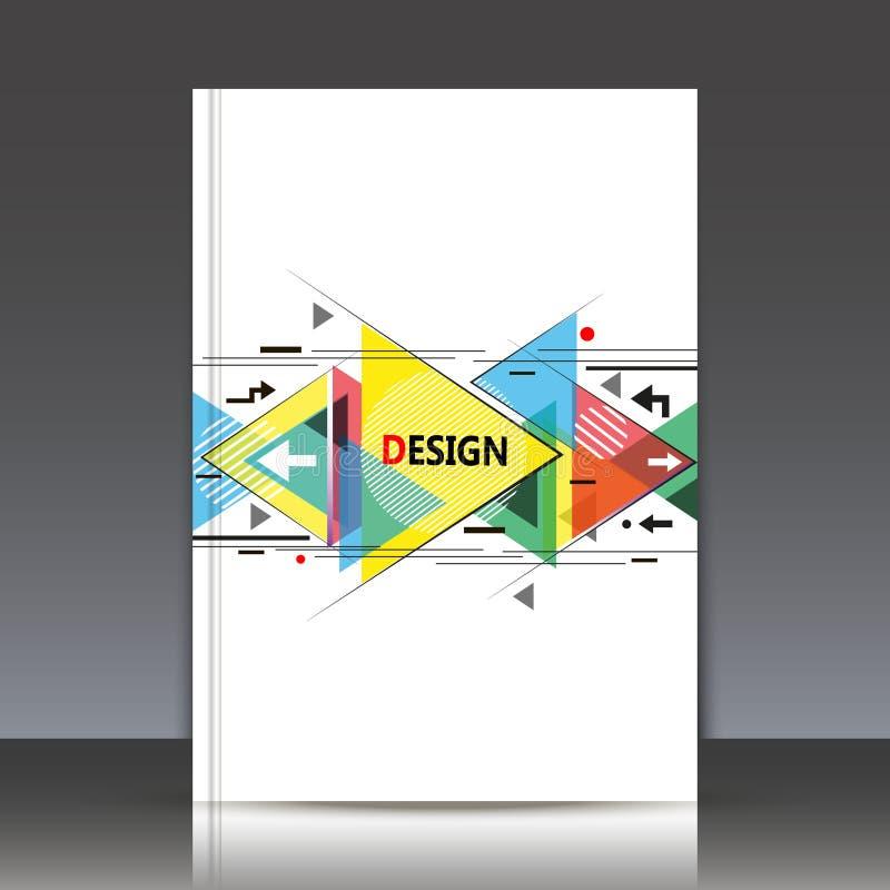 Composition abstraite, feuille de titre de la brochure a4, forme géométrique, icône volante de triangle, contexte de construction photographie stock