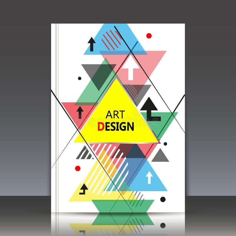 Composition abstraite, feuille de titre de la brochure a4, forme géométrique, icône volante de triangle, contexte de construction images libres de droits