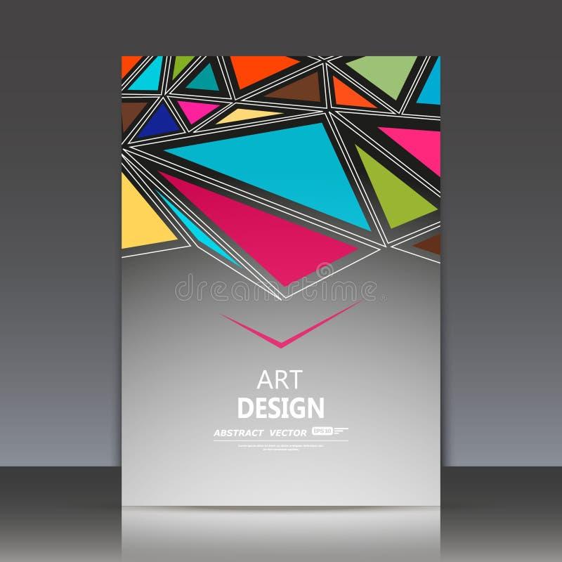 Composition abstraite, feuille de titre de la brochure a4, forme géométrique, patchwork de mélange, ornement de triangle, context photographie stock libre de droits