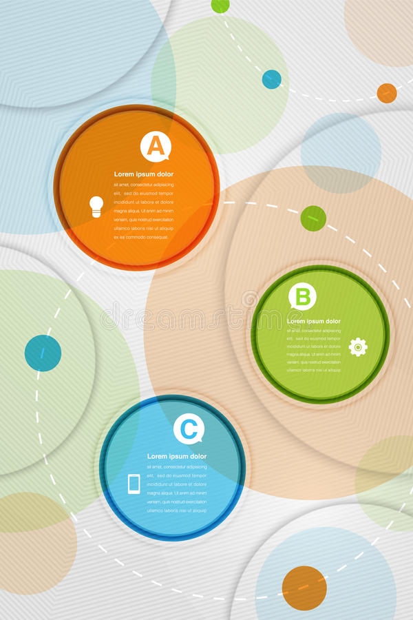 Composition abstraite moderne en cercles colorés avec l'espace pour le texte illustration stock