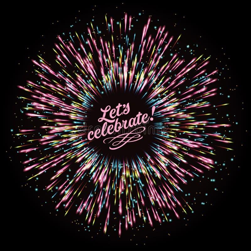 Composition abstraite sous forme d'explosion des feux d'artifice sur un fond foncé Salut de fête du ` s de nouvelle année illustration de vecteur