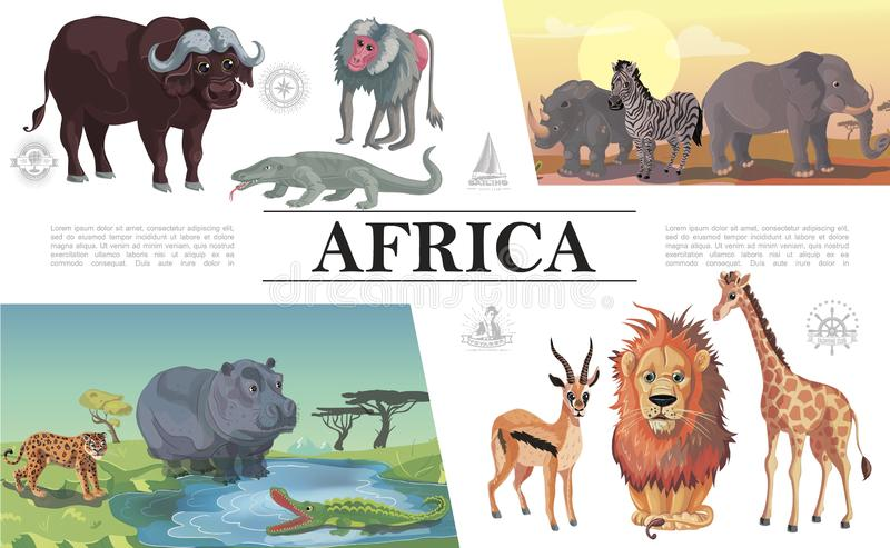 Composition africaine en animaux de bande dessinée illustration de vecteur