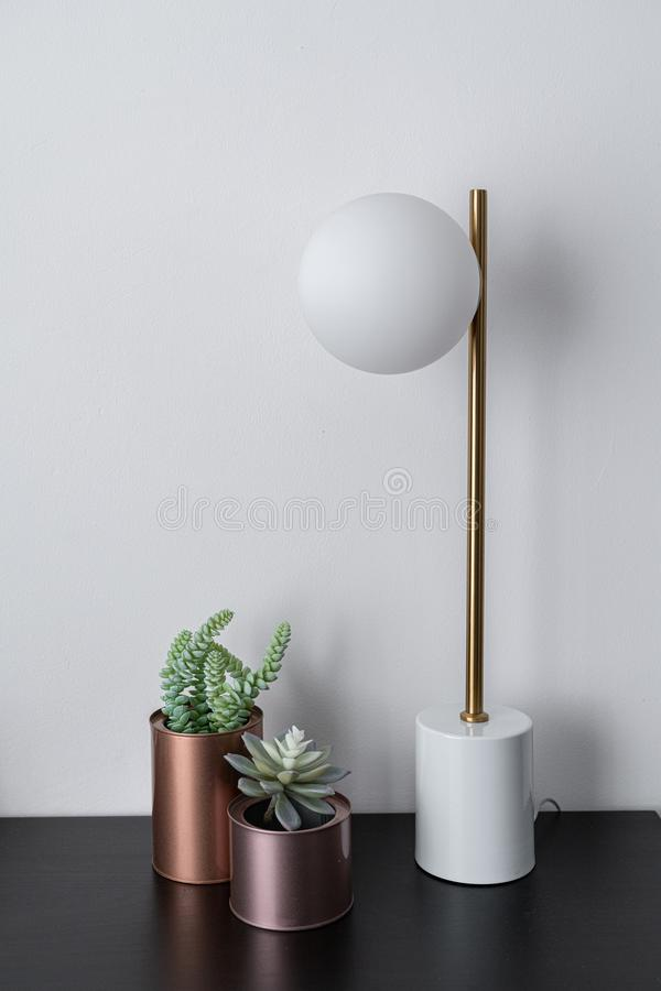 Composition of artificial plants copper vase and gold stylish table lamp in mid century modern design standing on black wooden top royalty free stock photos